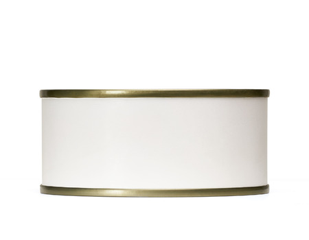 canned meat: Tin can from side with blank white label including clipping path. Stock Photo