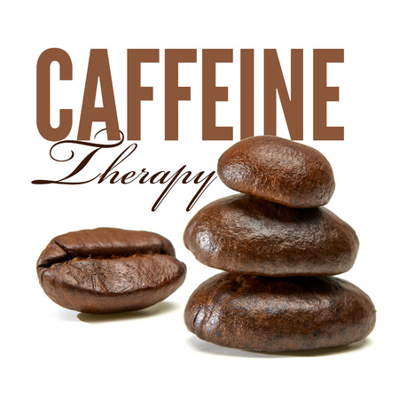 Caffeine therapy with overlapping coffee beans on white background. Stock Photo