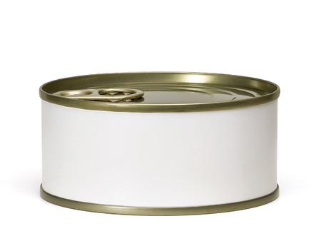 Tin can from side with white blank label including clipping path. Stock Photo