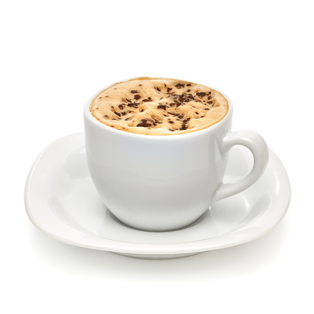 Cappuccino on white background with clipping path.