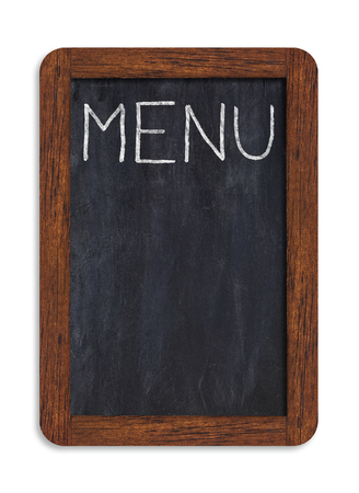 Black vertical chalkboard with menu handwriting including clipping path.