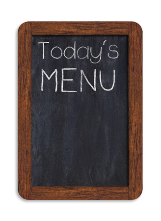 Black chalkboard with todays menu handwriting including clipping path.