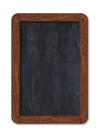 Black vertical blank chalkboard with wooden frame including clipping path. Stock Photo