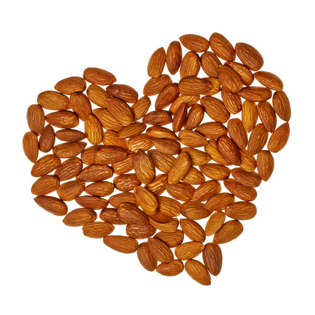 preventing: Almond heart isolated on white background