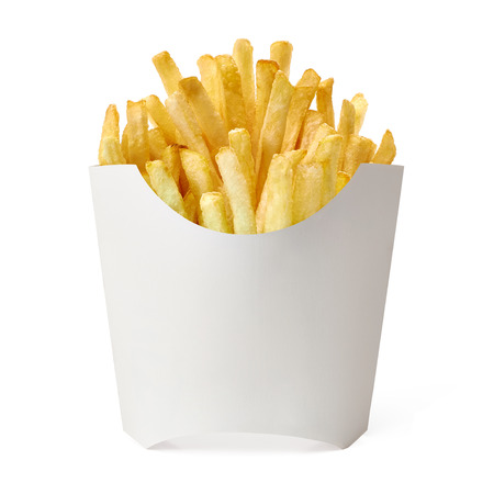 French fries in blank fry box on white background.