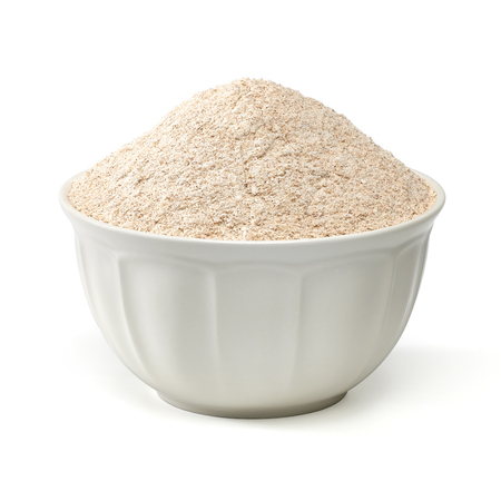grinded: Whole flour in bowl on white background