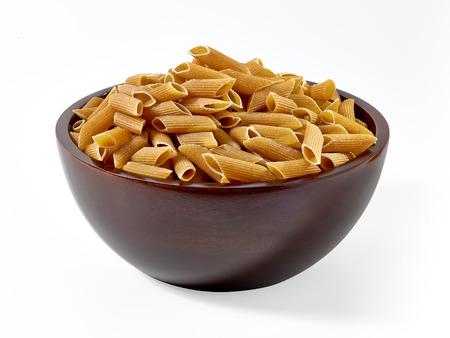 pasta isolated: Whole wheat pasta on white background