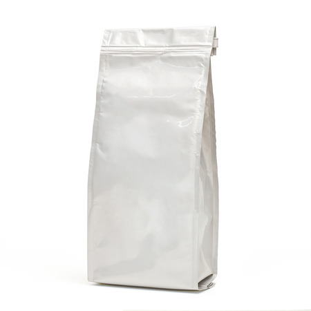White blank glossy foil food packaging bags with valve and seal isolated on white background