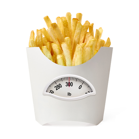 lb: French fries in white box with weight scale in Lb. on a white background