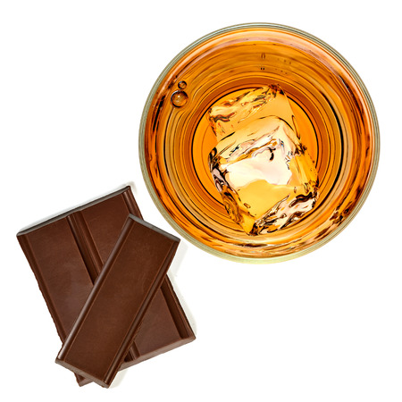 white bars: Whiskey with chocolate bars on a white background