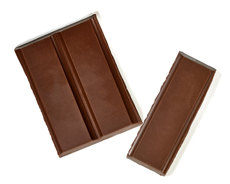 white bars: Chocolate bars from top on white background Stock Photo