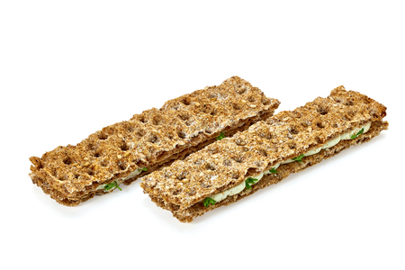 white bars: Dietary snack sandwich bars on a white background