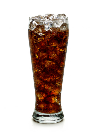 calories poor: Cola with ice in tall glass on white background