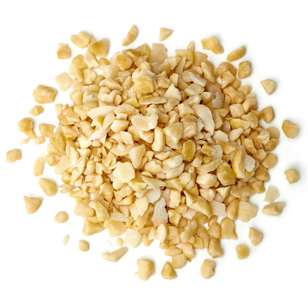 flavours: Diced hazelnuts from top on white background