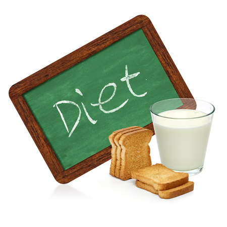 heathy diet: Dieter milk and crispbread with chalkboard sign on a white background
