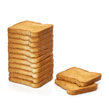 rusk: Rusk bread slices on white background