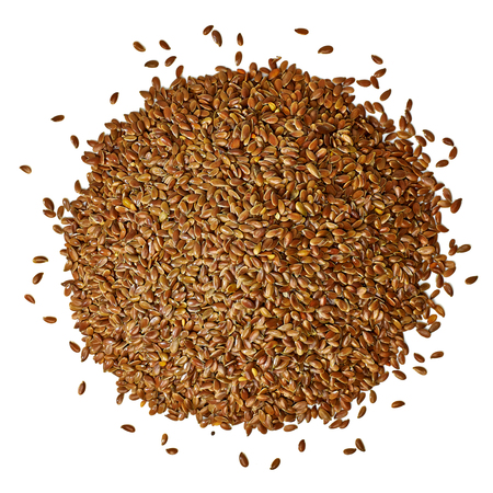 flax seed oil: Flax seeds on white background