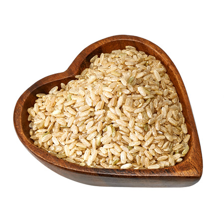 preventing: Heart healthy whole rice on white background