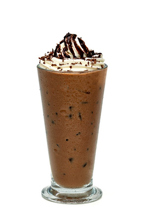 Iced mocha in tall glass on white background