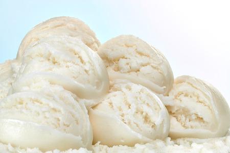 Vanille-ijs scoops Stockfoto