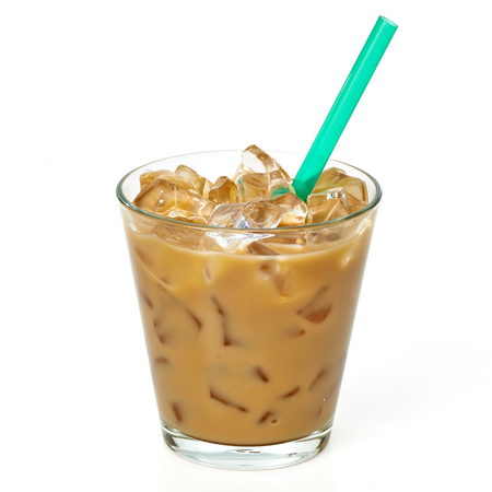 Iced coffee latte and straw in glass