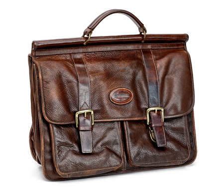 portmanteau: Leather briefcase on white background