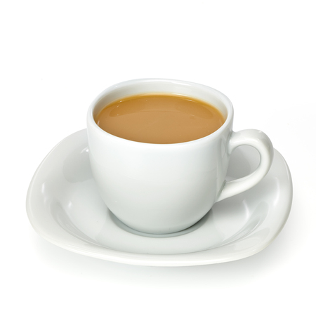 Milk tea in porcelain cup Stock Photo