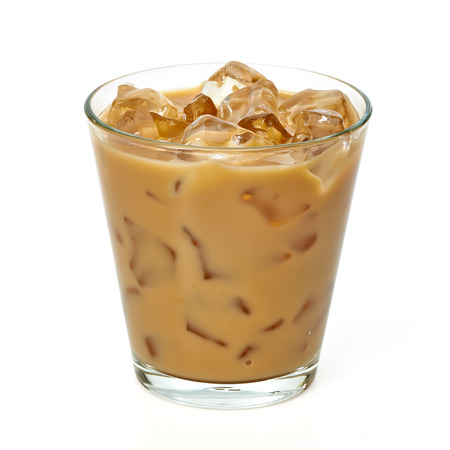 Iced coffee latte in glass Imagens