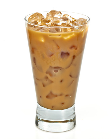 Iced coffee latte in long glass