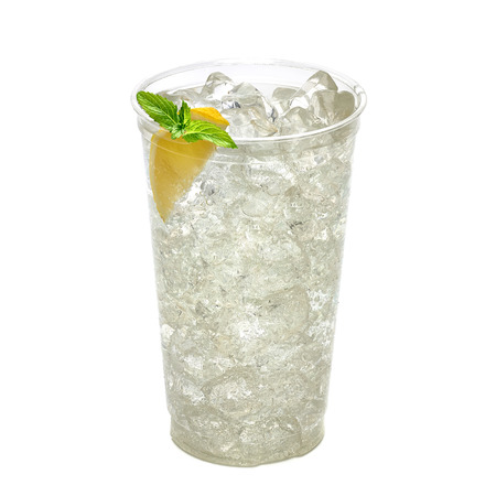 lemon wedge: Soda with ice, slice of lemon wedge and mint in takeaway cup on white background Stock Photo