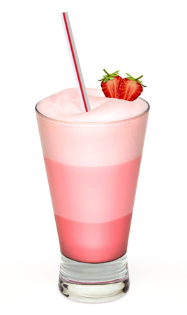 frappe: Strawberry frappe and cream on white background