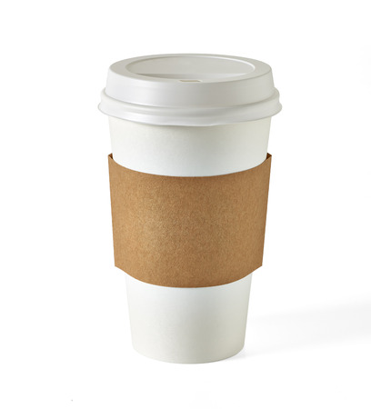 latte macchiato: Blank take away coffee cup with clipping path on white background
