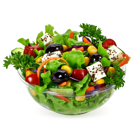 Salad of takeaway container on white background
