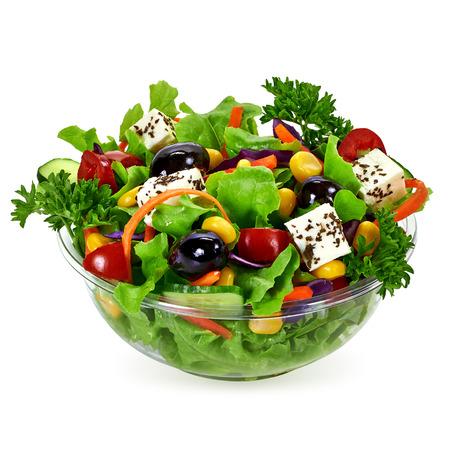 Salat von Essen zum Mitnehmen Container auf weißem Hintergrund Standard-Bild - 58978038