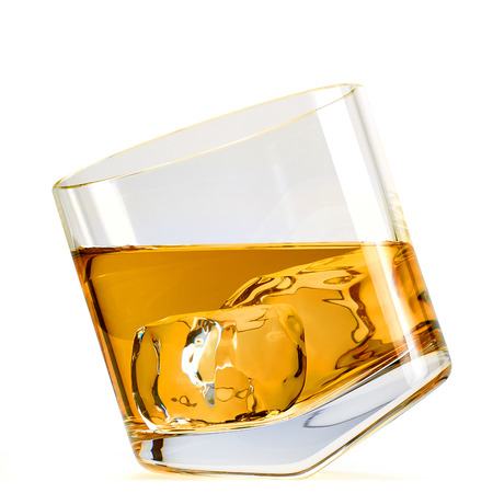 whiskey on the rocks: Whiskey with ice in rocks glass inclined clipping path included