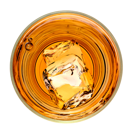 whiskey on the rocks: Whiskey in rocks glass with ice cubes from top on white background