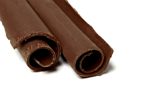 excelsior: Chocolate Curls on White Background