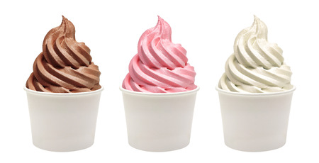Soft vanilla, strawberry and chocolate ice cream in blank takeaway paper cups on white background Archivio Fotografico