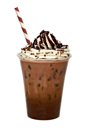 to go cup: Iced coffee with cream topping sauced in to go cup with straw isolated on white background including clipping path