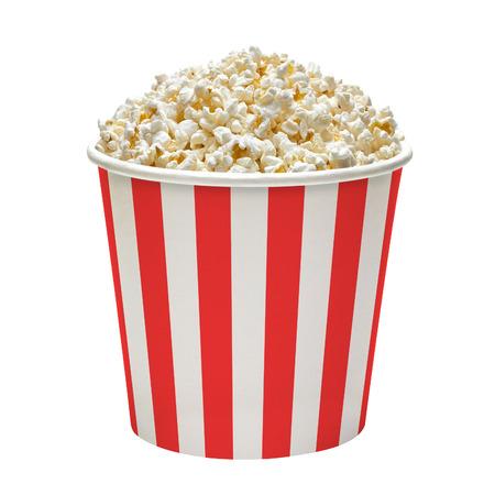 In gestreiften Popcorn-Eimer auf einem weißen Hintergrund Standard-Bild