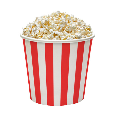 In striped popcorn bucket on a white background Imagens