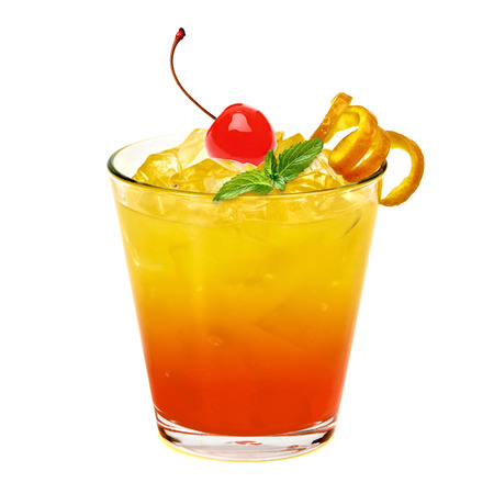 Tequila sunrise cocktail with crushed ice isolated on white background.
