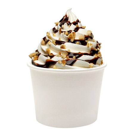 Soft vanilla ice cream with chocolate sauce in blank paper cup Imagens
