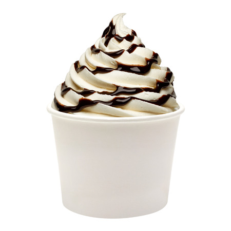 chocolate ice cream: Soft ice cream with chocolate sauce  in paper cup on white background Stock Photo