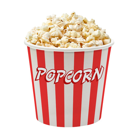 Popcorn in striped bucket on white background Stock Photo