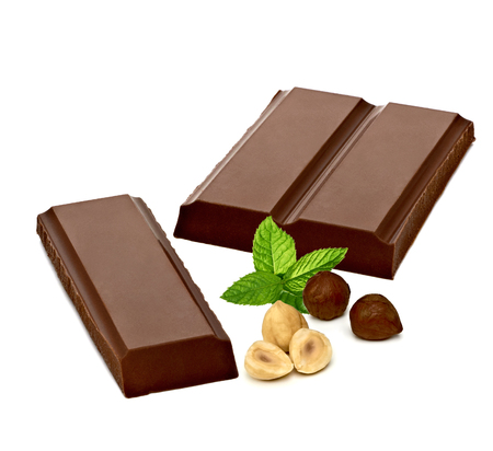 white bars: With Almonds And Fresh Mint Chocolate Bars On White Background Stock Photo
