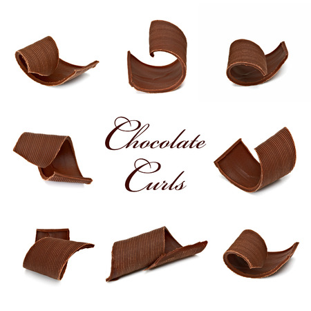 spall: Chocolate Curls Assortment In Various Angle Stock Photo