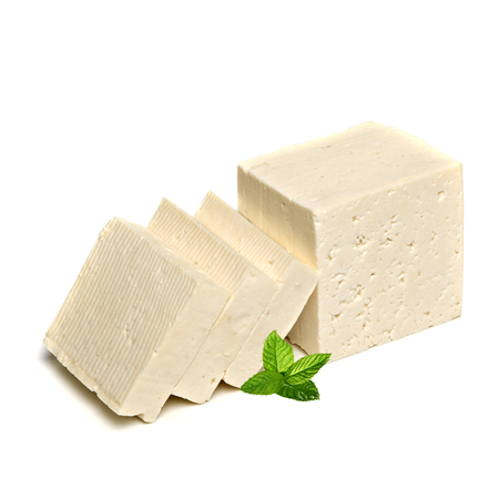 feta: Sliced ??feta cheese with mint on white background