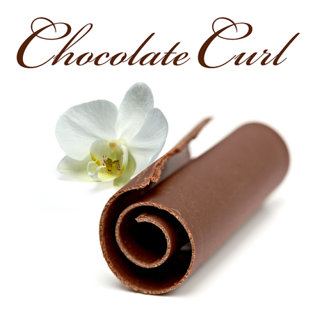 spall: Chocolate Curl with Orchids On White Background