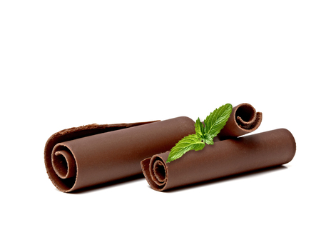 excelsior: With Fresh Mint Chocolate Curls On White Background.